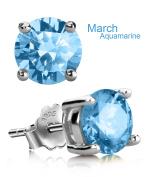 Stud Earrings, UHIBROS Hypoallergenic Silver Ear Studs Birthstone Round Cubic Zirconia Diamond Earrings