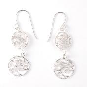 Hot Silver Sterling Silver Round Filigree Double Swirl Dangle Hook Earrings