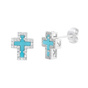 Lab-Created Turquoise Cubic Zirconia Cross Earring in Sterling Silver