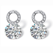 4 TCW Round Cubic Zirconia and Crystal Circle and Stud Drop Earrings in Sterling Silver