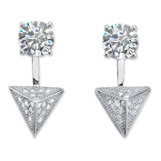 2.40 TCW Pave Cubic Zirconia Pyramid 2-in-1 Ear Jacket Earrings in Sterling Silver