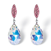 Pear-Cut Aurora Borealis Crystal Drop Earrings Made with ELEMENTS in Silvertone