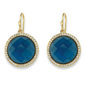 .42 TCW Checkerboard-Cut Simulated London Blue Sapphire & CZ Halo Earrings 14k Gold-Plated