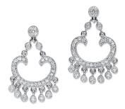 1.13 TCW Round Cubic Zirconia Chandelier Drop Earrings Platinum-Plated 3.2cm