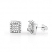 .925 Sterling Silver Mens 7.5mm Square Cubic Zirconia Iced Out Latered Cluster Stud Earrings