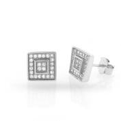.925 Sterling Silver Mens 8mm Fancy Square Button Cubic Zirconia Iced Out Cluster Stud Earrings