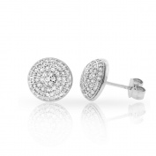 .925 Sterling Silver 10mm Round Dome Cubic Zirconia Iced Out Cluster Stud Earrings