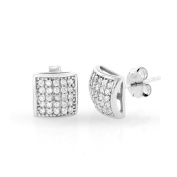 .925 Sterling Silver Mens 8.5mm Square Dome Cubic Zirconia Iced Out Cluster Stud Earrings