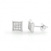 .925 Sterling Silver Mens 7mm Square Cubic Zirconia Iced Out Cluster Kite Stud Earrings