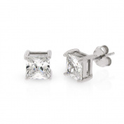 .925 Sterling Silver 6mm Princess Cut Square Cubic Zirconia Stud Earrings