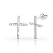 .925 Sterling Silver Womens Fancy Cross Iced Out Cubic Zirconia Stud Earrings