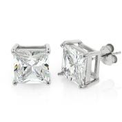 .925 Sterling Silver 9mm Princess Cut Square Cubic Zirconia Stud Earrings