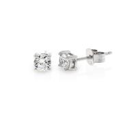 .925 Sterling Silver 4mm Round Cut Cubic Zirconia Stud Earrings