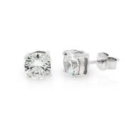 .925 Sterling Silver 6mm Round Cut Cubic Zirconia Stud Earrings