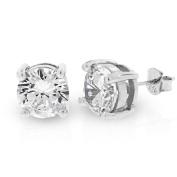 .925 Sterling Silver 9mm Round Cut Cubic Zirconia Stud Earrings