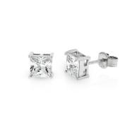 .925 Sterling Silver 5mm Princess Cut Square Cubic Zirconia Stud Earrings