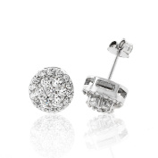 .925 Sterling Silver Womens 9mm Flower Halo Cubic Zirconia Iced Out Cluster Stud Earrings