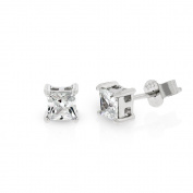 .925 Sterling Silver 4mm Princess Cut Square Cubic Zirconia Stud Earrings