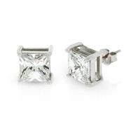 .925 Sterling Silver 8mm Princess Cut Square Cubic Zirconia Stud Earrings