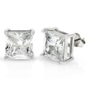 .925 Sterling Silver 10mm Princess Cut Square Cubic Zirconia Stud Earrings