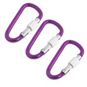 3 x Purple 5cm Long Locking Carabiner Hook for Camping Hiking