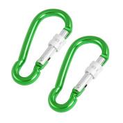 Unique Bargains Unique Bargains Pair Green Aluminium Alloy Bottle Bag Carrying Locking Carabiner Hook