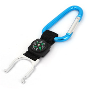 Travelling Outdoors Carabiner Hook Drink Water Bottle Holder Clip Teal w Compass