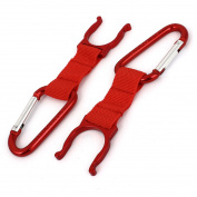Outdoor Sports Aluminium Carabiner Belt Clip Water Bottle Buckle Holder Red 2PCS