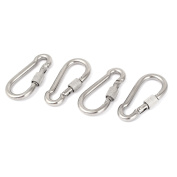 6mm Thickness Screw Lockable Carabiner Hook Clip Keychain 4pcs