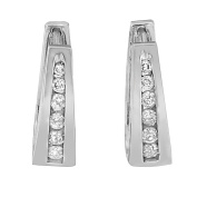 14k White Gold 0.25ct Round Cut Diamond Huggy Earrings