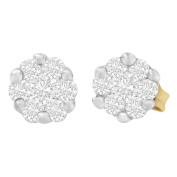 14k Yellow Gold 0.55ct TDW Round-cut Diamond Earrings