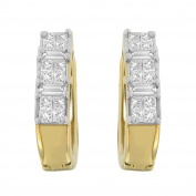 14k Yellow Gold 0.5ct TDW Princess and Baguette-cut Diamond Earrings