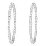 10KT White Gold 2ct TDW Round-cut Diamond Circle Hoop Earrings