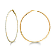 World Trade Jewellers 14k Yellow Gold over Silver 5/8ct TDW Diamond Round Hoop Earrings