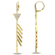 V1969 Italia White Sapphire Insignia Drop Earrings in Yellow Gold Plated Sterling Silver