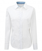 Alexandra STC-NF84WH-20 Women's Long Sleeve Shirt, Plain, 100% Cotton, Size 20, White