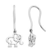 Little Diva Diamonds Sterling Silver .01 Ctw. Diamond Accent Elephant Earrings for Girls