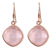 Orchid Jewellery Mfg Inc Orchid Jewellery Pink Gold Over Sterling Silver 19ct. TGW Cushion-cut Rose Quartz Gemstone Wedding Earrings