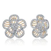 Collette Z 18k Yellow Gold over Silver Clear Cubic Zirconia Flower Earrings