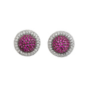 Collette Z Sterling Silver Red and White Cubic Zirconia Stud Earrings