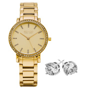 SO & CO New York Women's Gold-tone with Crystal Stud Earrings Mothers Day Gift Watch Set