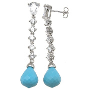 Plutus Partners Sterling Silver Imitation Turquoise and Cubic Zirconia Earrings