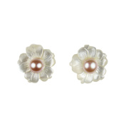 Pearl Lustre White Mother of Pearl and Freshwater Pearl Flower Stud Earings
