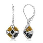 JewelonFire Sterling Silver 1/4ct TDW Multi Colour Diamond Earrings