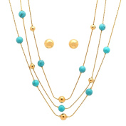 Piatella Ladies Gold Tone Simulated Turquoise Layered Necklace and Ball Stud Earrings Set