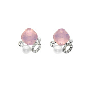 Isla Simone Rhodium Plated Pink Opal Simulated Pearl Cluster Stud Earrings