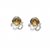 Isla Simone Rhodium Plated Golden Shadow Simulated Pearl Cluster Stud Earrings