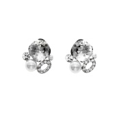 Isla Simone Rhodium Plated Silver Shadow Simulated Pearl Cluster Stud Earrings