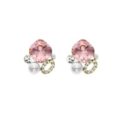 Isla Simone 14K Gold Plated Rose Simulated Pearl Cluster Stud Earrings, Made with Elements