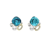 Isla Simone 14K Gold Plated Indicolite Simulated Pearl Cluster Stud Earrings